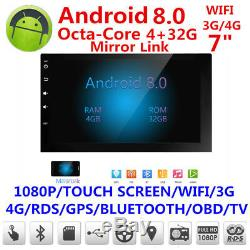 7''Android 8.0 4G WiFi Double 2DIN Car Radio Stereo Multimedia GPS Navi BT DAB+