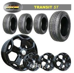8x18 JBW TST GLOSS BLACK ALLOY WHEELS+TYRES TO SUIT FORD TRANSIT SET OF 4