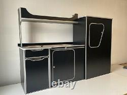 ASSEMBLED Camper Van Furniture Ford Transit Custom SWB Black/Silver 1 DAY BUILD