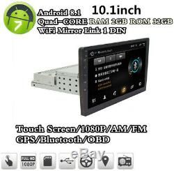 Android8.1 1DIN 10.1 HD Head Unit Car Stereo Radio MP5 Player GPS Sat Nav 2+32G