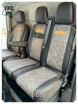 FORD TRANSIT CUSTOM SEAT COVERS 2+1 ECO LEATHER ALCANTARA & PIPING 3 Logos
