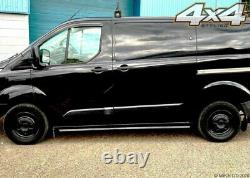For Ford Transit Custom 2012+ Black Side Steps Bars Boards Set 3 SWB