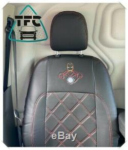 Ford Transit CUSTOM SEAT COVERS ECO LEATHER Bentley Stitching & LOGOS SEATS 2+1