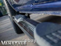 Ford Transit Custom Swb 12-18 Gloss Black 76mm Side Step Bars 4 Steps Slash Cut