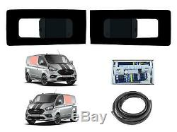 Twin Side Opening Dark Tint Glass Windows Fitting Kit for Ford Transit Custom